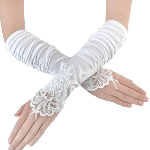 In Stock Lace Appliques Beads Bridal Gloves Ivory/White/Black/Red Long Elbow Length Fingerless Wedding Gloves Bride Accessories