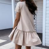 EBBUYTIDE Casual Crew Neck Ruffle Women Dress Short -Sleeved Solid Color Loose Mini Dress Summer Style A -Line Ladies Short Dress