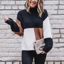 Fashion Color Blocking Pullover Sweater