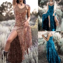 Women's Casual Vintage Punk Dyed Print Dress Strap Lace Long Hem Split Dress Kleider Damen Women Dress Summer #25