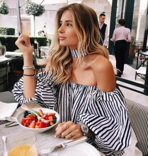 Off-shoulder Lantern 3/4 Sleeves Striped Sexy Blouse