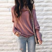 Elegant Off-Shoulder Bishop Sleeve Sweater