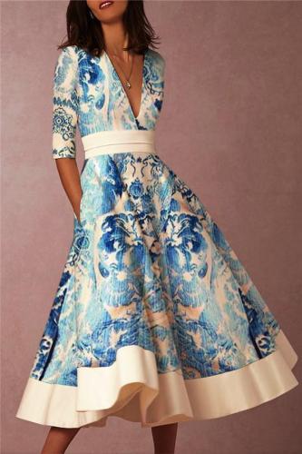EBUYTIDE Deep V-Neck Fashion Blue Prints Skater Dresses