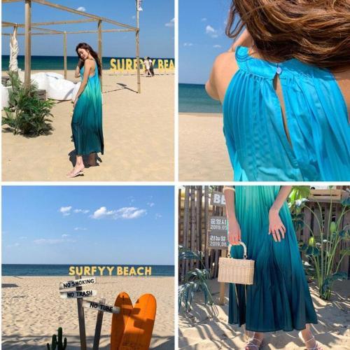 2020 Summer Fashion Women Maxi Long Dress Chic Color Gradient Loose Pleated Dresses Women's Sleeveless Halter Dinner Dress