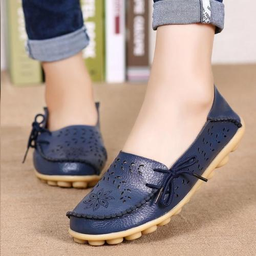 Women Flats Women Genuine Leather Shoes Slip On Loafers Woman Soft Nurse Ballerina Shoes