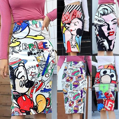 Bonjean Women's Pencil Skirt New Cartoon Mouse Print High Waist Slim Skirts Women Young Girl Summer Female Falda