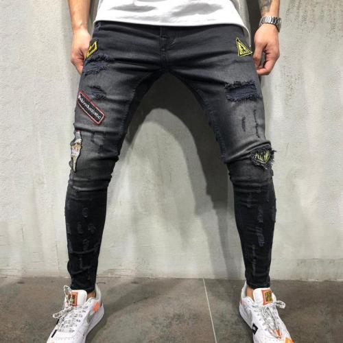 Hip Hop Hole Men's Badge Slim pants