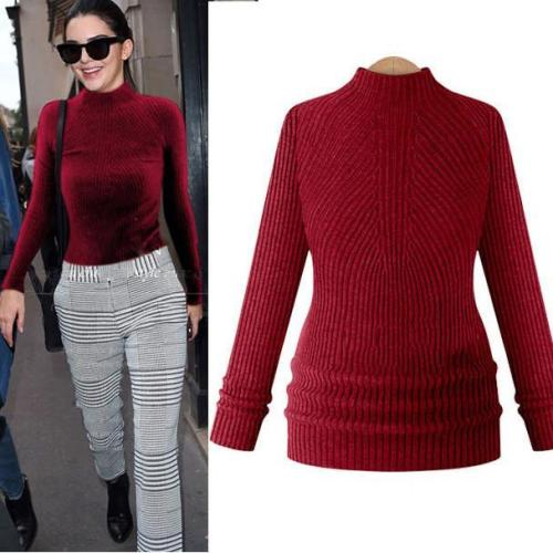 High-neck Slim Solid Knit Short Pullover Sweater