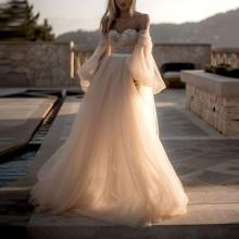 Sexy Wrapped Chest Puff Sleeve Solid Color Evening Dress