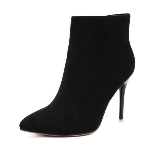 Suede Stiletto Heel Pointed Toe Zipper High Heel Short Boots