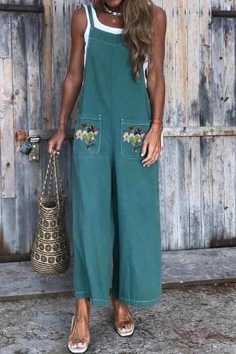 EBUYTIDE Fashion Embroidery Sleeveless Pocket Jumpsuit