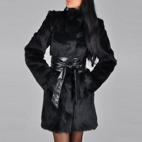 Faux Fur Glamorous High Neck Overcoats