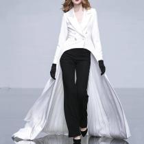 Fashion V Neck Long Sleeve Pure Colour Dress