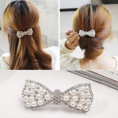 1Pc Best Gifts Women Girls Fashion Elgant Crystal Bow Hair Clip party vaction Hairpin Barrette Pearl Hair Accessories Hot