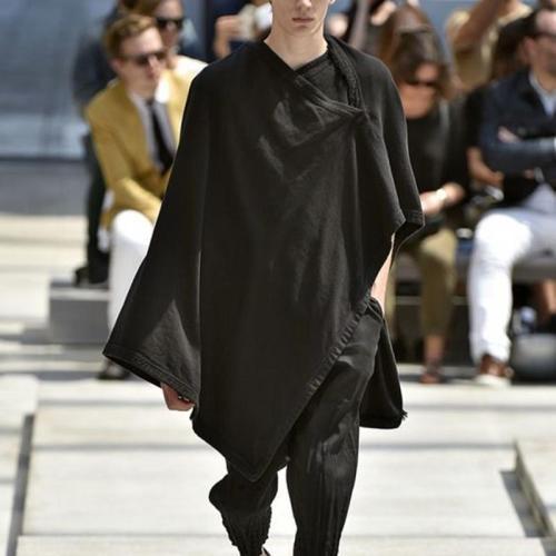 Fashion Irregular Cloak Loose Black V Neck Sweater
