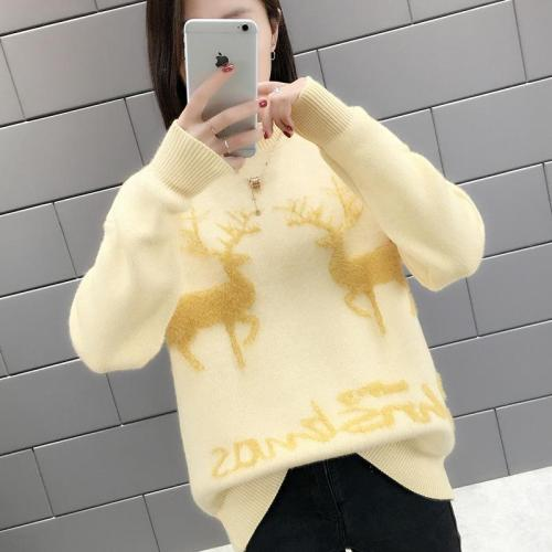 Lace Turtleneck Reindeer Christmas Sweater
