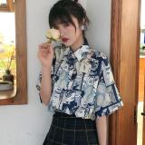 Women Blouses Cartoon Print Short-sleeved Shirt Ladies Loose Summer Blouse Fashion 2020
