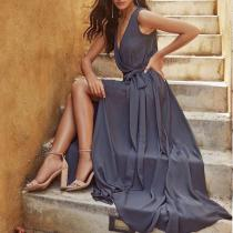 Sexy V-Neck Sleeveless Solid Color Dress