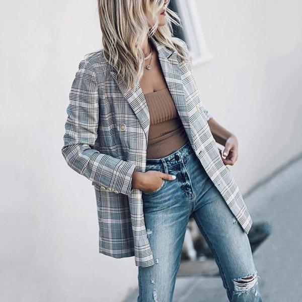 Women's VintageCheck Double-breasted Long Sleeve Blazer