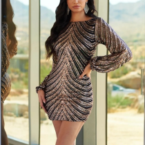 Sequined Backless Slim Lantern Sleeve Bodycon Dress