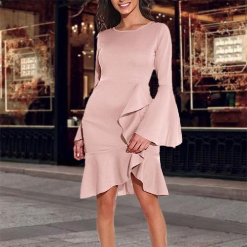 Elegant Flared Sleeve Solid Color Bodycon Dress