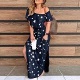 Stylish Star Print Short Sleeve Split Maxi Dress
