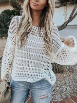 Sexy Solid Color Hollow Out Knitting Long Sleeve Shirt
