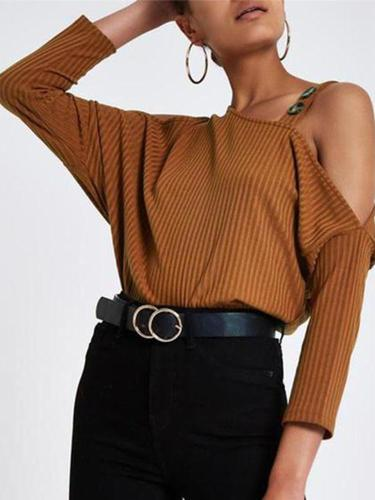 Sexy Shoulder Knitted Long Sleeve T Shirt