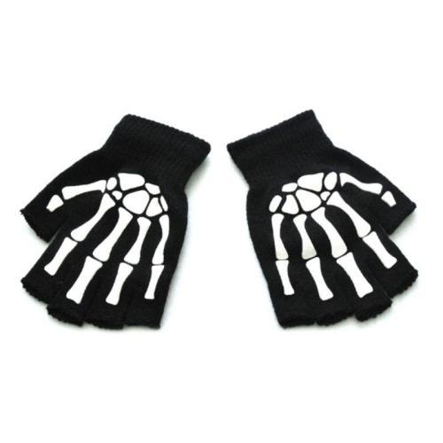 Kids Halloween Cosplay Skeleton Half Finger Gloves Luminous Fingerless Mittens