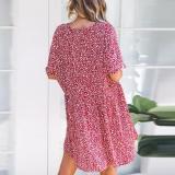 V Neck  Single Breasted  Print  Short Sleeve Casual Mini Dresses