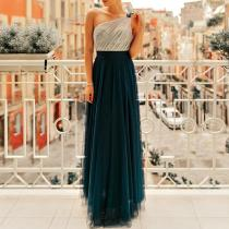 Sexy Backless One Shoulder Mesh Evening Dress