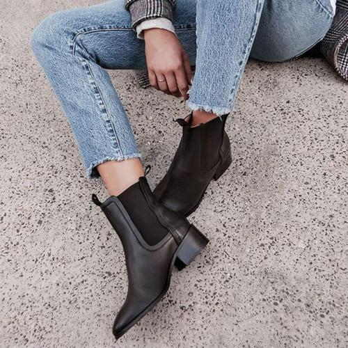 Women's Fashion Solid Chelsea Ankle Boots