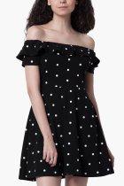 Black Casual Short Sleeves Mini Dress