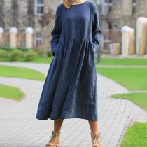 Casual Loose Pure Color Long Sleeve Maxi Dress