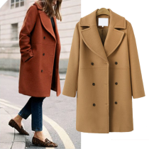 Women's Lapel Double-Breasted Medium Woolen Coat