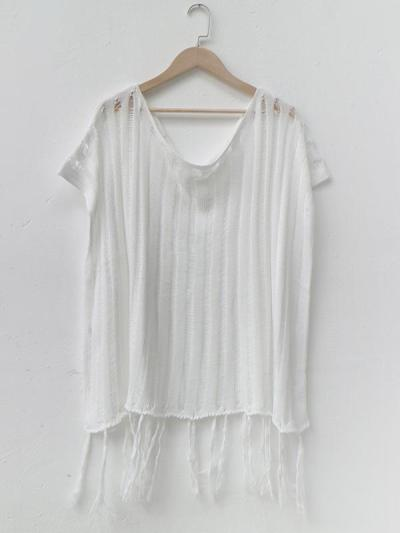Loose Off-the-Shoulder Knitted Tasseled Beach Cover-Up