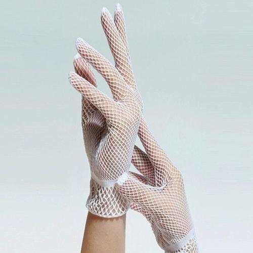 Women Women Bridal Sexy Hollow Out Fishnet Full Fingered Gloves  Wrist Length Elastic Solid Color Sunscreen Mittens Wedding 2