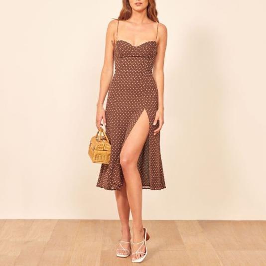 Polka dot high waist sexy dress
