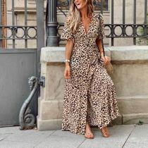 V Neck Leopard Print Open Fork Dress
