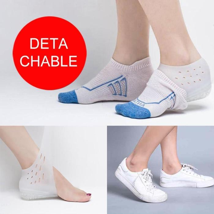 1 Pair Silicone Invisible Height Lift Heel Pad Sock Liners Increase Insole Pain Relieve Foot Skin Care Tool Unisex Anti-Slippery
