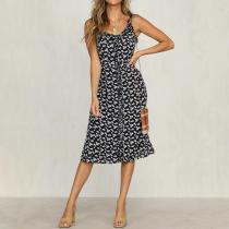 Fashion casual temperament sling retro print dress