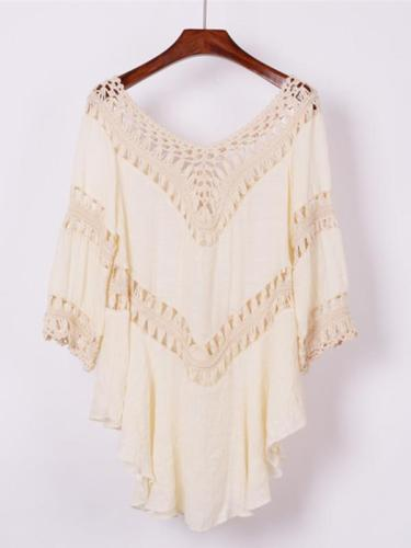 Plain Crochet Hollow Cover-Ups Swimwear