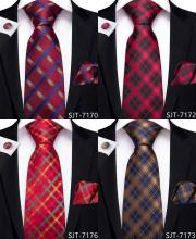 2020 EBUYTIDE Designer Tie for Men Red Brown Plaid Men's Tie Business Wedding Party Tie Set 100% Silk Necktie Hanky Cufflink Ties
