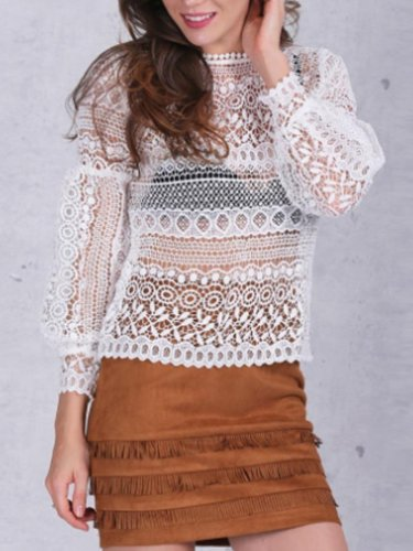 Collarless  Decorative Lace  Hollow Out Blouses