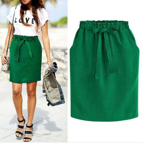 Summer Autumn Elegant Midi Skirts Womens Office Pencil Skirt Cotton Elastic Waist Package Hip Skirt Bow Skirt Green