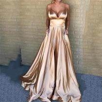 Sexy V Neck Pure Colour Sling Evening Dress