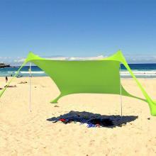 Family Beach Sunshade Lightweight Sun Shade Tent With Sandbag Anchors 4 Free Pegs UPF50+ UV Large Portable Canopy