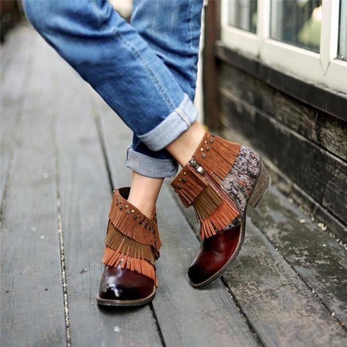 Women's Fashion Stitched Fringe Booties