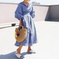 Fashion Youth Loose Plaid V Collar Puff Long Sleeve Lace-Up Ruffled Hem Maxi Dress