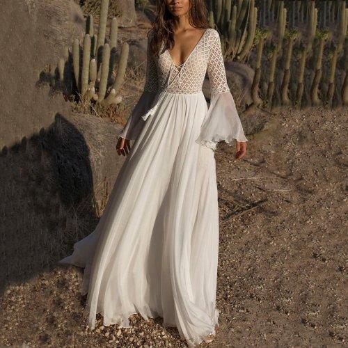V-Collar Lace Waist Light Dress With Maxi Dress